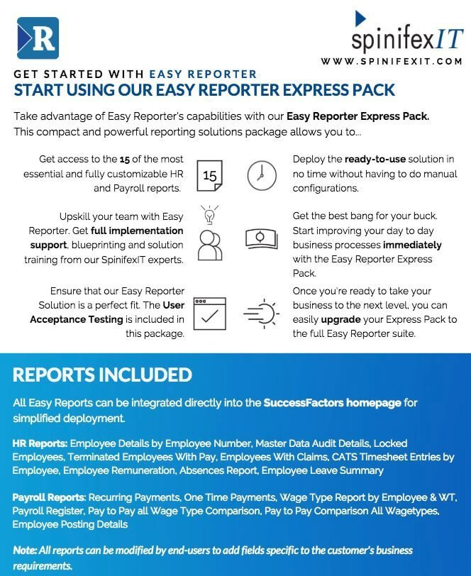 SpinifexIT Easy Reporter Express Pack