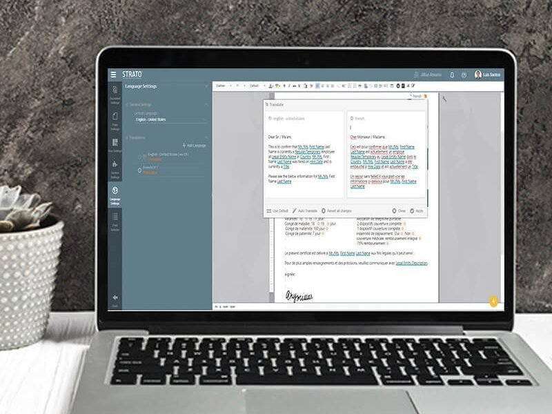 Translate your documents using Strato document generation